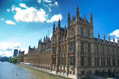 British westminster parliament. Over the river thames Royalty Free Stock Images