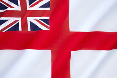 British White Ensign. Flown by the Royal Navy and most Commonwealth navies, the Royal Yacht Squadron and ships of Trinity House stock images