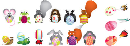 British wildlife holding easter eggs. Detailed vector file of a set of british wildlife illustrations holding different easter eggs Stock Photography