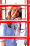 British woman talking on the phone Stock Photo