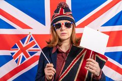 British woman UK flag and Brexit banner stock photography