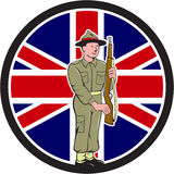 British World War II Soldier Union Jack Flag Cartoon. Illustration of a World War II soldier presenting arms rifle weapon for inspection with Union Jack British Stock Images