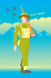 British World War two soldier marching. Illustration of a British World War two soldier with rifle marching with airplanes flying, mountains and clouds in Stock Image