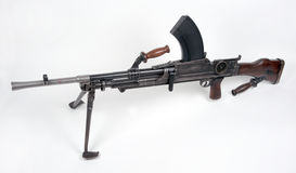 British WW11 Bren Gun. The ubiquitous .303 Bren gun, the mainstay of infantry section fire support during WWII and Korea. As the 7.62mm LMG it saw service in the Royalty Free Stock Photo