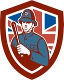 Británicos Bobby Policeman Truncheon Flag Shield retro Imágenes de archivo libres de regalías