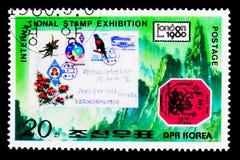 Brits Guyana één Internationale cent Magenta en Koreaanse dekking, Stock Fotografie