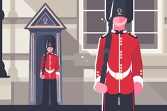 Brits koninklijk de militairkarakter van gardesoldaatkoninginnen vector illustratie