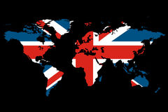 Brits van de Kaart van de wereld Thema Stock Illustratie