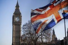 Brits vlag en Big Ben royalty-vrije stock fotografie