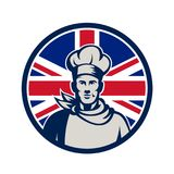 Britse Baker Chef-kok Union Jack Flag Icon Royalty-vrije Stock Foto's