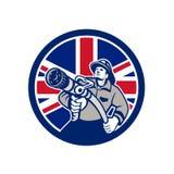 Britse Brandbestrijder Union Jack Flag Icon Royalty-vrije Stock Afbeeldingen