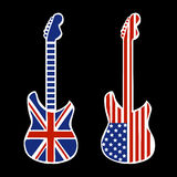 Britse en Amerikaanse Rots - en - broodjesgitaren Royalty-vrije Stock Foto's