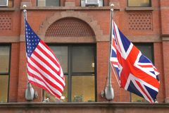 Britse en van de V.S. Vlaggen royalty-vrije stock fotografie