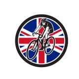 Britse Fietser het Cirkelen Unie Jack Flag Icon Royalty-vrije Stock Foto