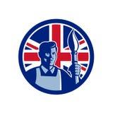 Britse Fijne Kunstenaar Union Jack Flag Icon Stock Fotografie