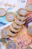 Britse geldnota's en Muntstukken stock afbeelding