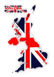 Britse, het Verenigd Koninkrijk kaart met geïsoleerder vlag, Stock Foto's