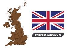 Britse Kaart en vlag Kaart van het Verenigd Koninkrijk en Vlag van het Verenigd Koninkrijk stock illustratie