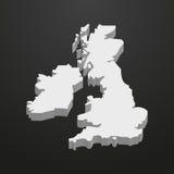 Britse kaart in grijs op een zwarte 3d achtergrond Stock Fotografie