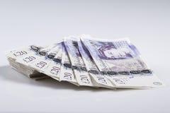 Britse munt Ventilator van Britse 20 Pondenbankbiljetten stock afbeeldingen