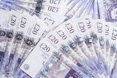 Britse munt Ventilators van Britse 20 Pondenbankbiljetten Achtergrond Royalty-vrije Stock Afbeeldingen