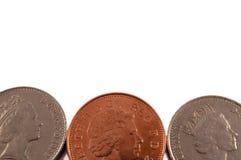Britse muntstukken als achtergrond. Stock Foto