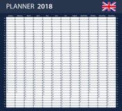Britse Ontwerpersspatie voor 2018 Engels Planner, agenda of agendamalplaatje Stock Afbeelding