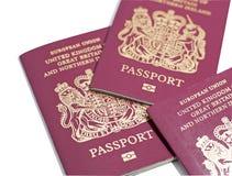 Britse Paspoorten Stock Afbeelding