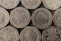 20 Britse pence mozaïek Royalty-vrije Stock Foto's