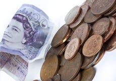 Britse pence muntstukken Royalty-vrije Stock Foto's