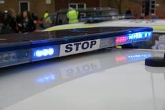 Britse politiewagen bij incident, stock afbeeldingen