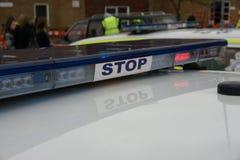 Britse politiewagen bij incident, royalty-vrije stock afbeeldingen