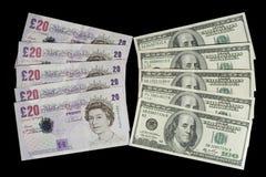 Britse ponden en dollars Stock Foto's