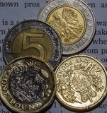 2 Britse Pondmuntstuk en 10 Zloty in twee Vijf Zloty Muntstuk B Stock Afbeelding