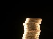 Britse pondmuntstukken stock foto's