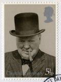 Britse Postzegel die het Eeuwfeest van Churchill ` s herdenken Stock Afbeelding
