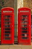 Britse Rode Telefooncel twee stock afbeelding