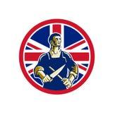 Britse Slager Union Jack Flag Icon Stock Afbeeldingen
