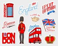 Britse uitstekende stickers, Kroon en Koningin, theepot met thee, bus en koninklijke wacht, Londen Kentekens, zegels, emblemen ve royalty-vrije illustratie
