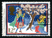 Britse van de Glastonburydoorn Postzegel Stock Foto