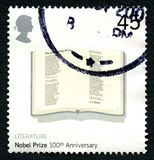 Britse van de Nobelprijs 100ste Verjaardag Postzegel Royalty-vrije Stock Afbeelding