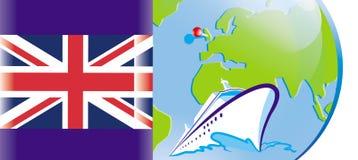 Britse vlag, cruise op een schip royalty-vrije illustratie