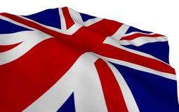 Britse vlag die in de wind gedetailleerde textuur stromen Een deel van een reeks royalty-vrije stock foto