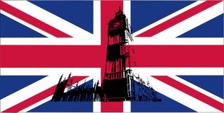 Britse vlag met de Big Ben Stock Afbeelding