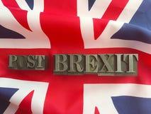 Britse vlag met postbrexit-woorden stock foto's