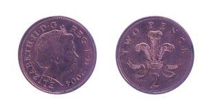 Britt två encentmynt Royaltyfri Fotografi