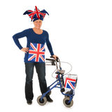 Brittain sports fan with walker Royalty Free Stock Image