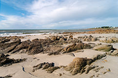 Audierne bay rocks  in Brittany  coast. Brittany, beach in  audierne bay Stock Photography