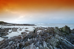 Brittany coast. Granite rocks in Audierne bay Stock Image