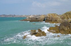 Brittany coast. Rocky coastline of brittany in france Royalty Free Stock Photos